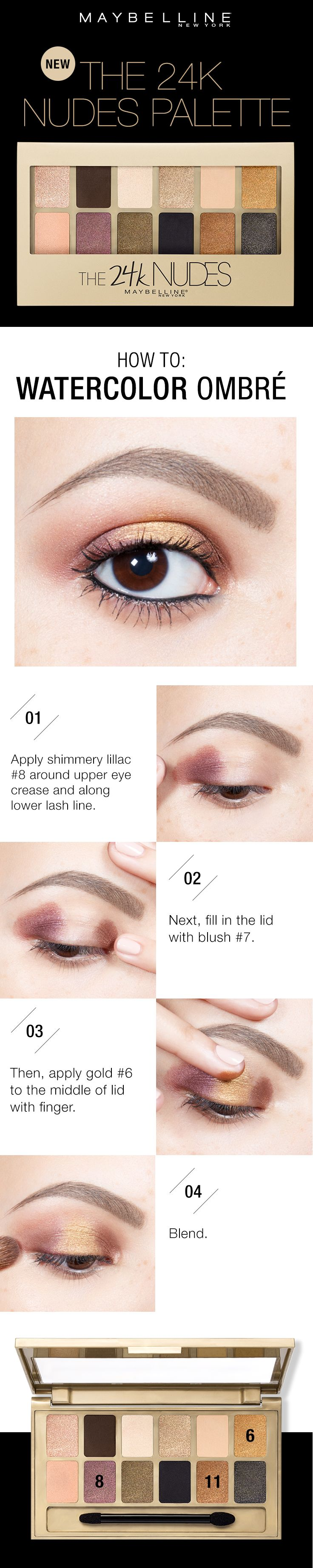 Get this beautiful watercolor ombre eyeshadow look in four easy steps using the Maybelline 24K Nudes Palette. First, apply shimmer lilac shade around the upper eye crease and along the lower lash line. Next, fill in the lid with the blush shade. Then, apply the gold shade in the middle of the eye. Lastly, blend to give the watercolor effect.