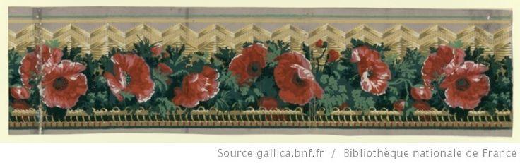 Manufacture Duserre et Cie. 1799. [Bordure. Une bande de ligne de pavots entre une frise d'arceaux et une bande en chevrons] : [papier peint]