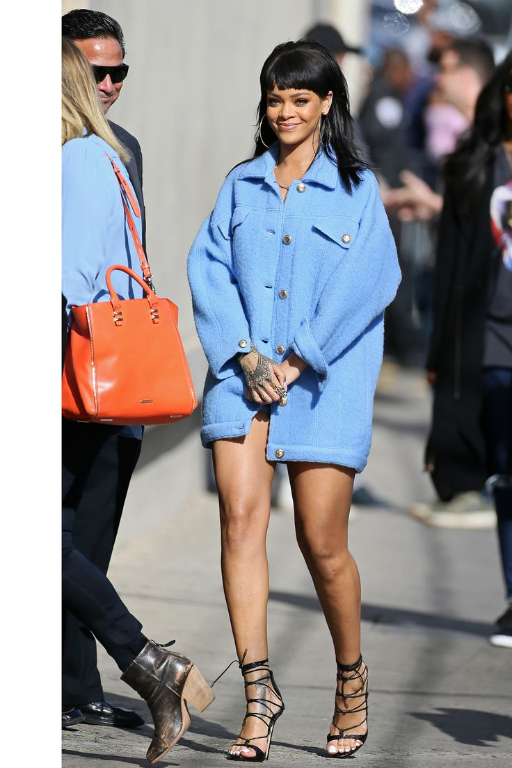 Who: Rihanna What: Lace-Up Heels Why: If there's anyone who innately understands balance in fashion it's Rihanna—masculine-feminine, high-low, voluminous and fitted. Her recent pairing of an oversized coat with sexy lace-up heels is a prime example.  Get the look now: Gianvito Rossi shoes, $1,100, shopBAZAAR.com.   - HarpersBAZAAR.com