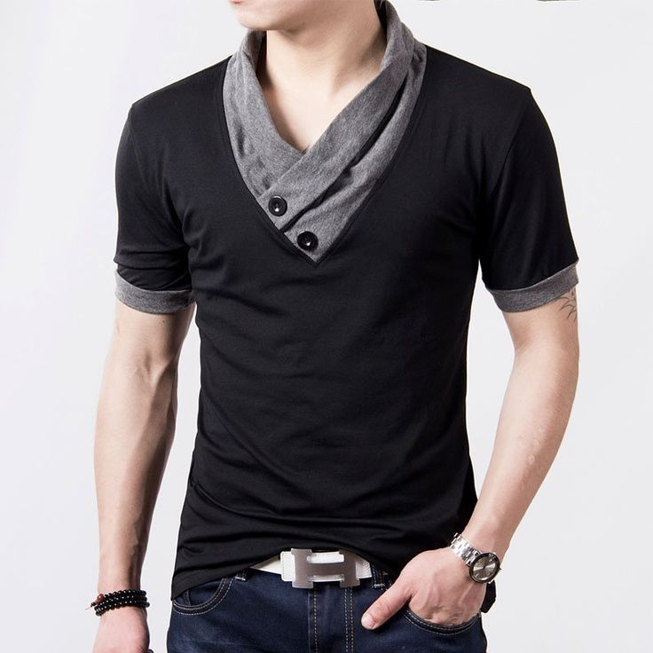 2017 New Plus Size Mens Summer Casual T-shirt Fashion Slim Short Sleeve V Neck T Shirt Button Decorating Tees / Tops