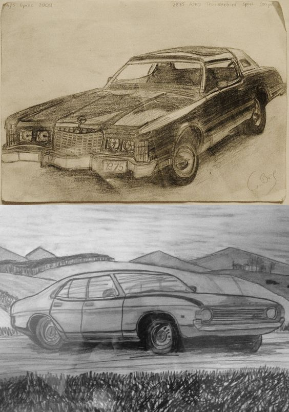 OLD CARS  - sketch In the Moss https://www.facebook.com/inthemoss/?fref=ts