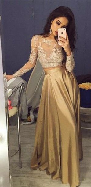 champagne prom dresses,lace prom dresses,cheap prom dresses,long sleeve prom dresses,@simpledress2480