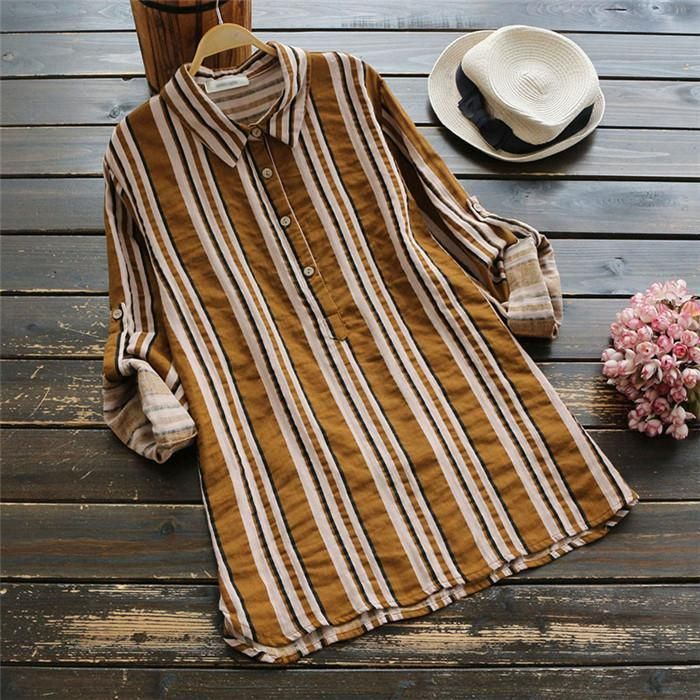 Fashionable cotton and linen striped lapel shirt