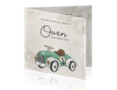 Gaaf geboortekaartje zoon vintage met auto.  #geboortekaartje #auto #aquarel #watercolour #stoer #geboorte