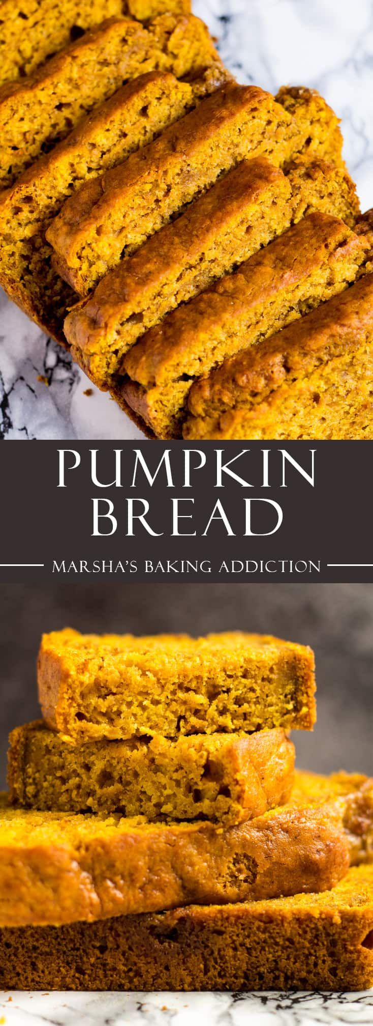 Pumpkin Bread- This incredibly moist pumpkin bread that is perfectly spiced is the BEST way to kick-startyour autumn! Recipe on marshasbakingaddiction.com