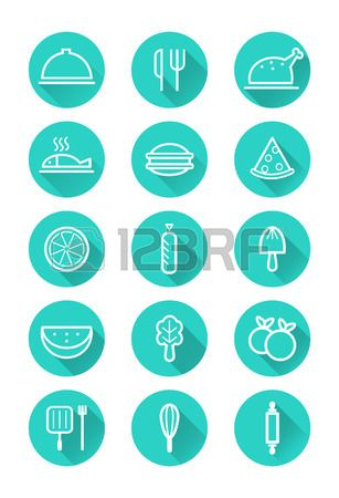 food and cooking icons set flat icons vector Stock Vector