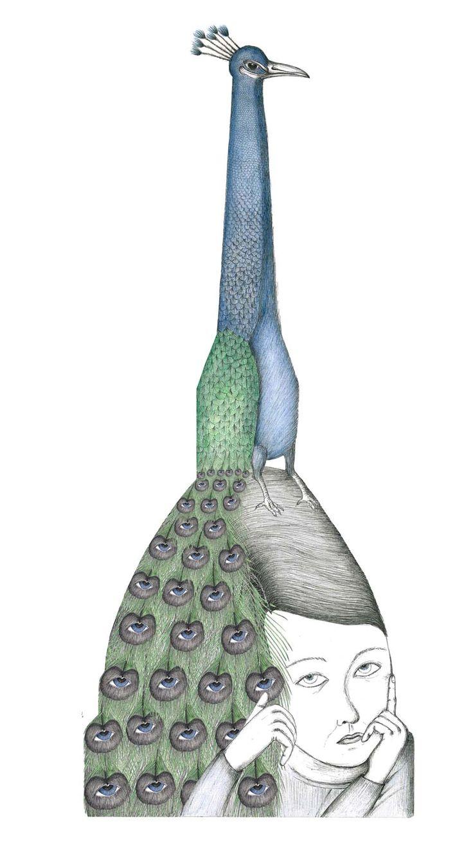 PAVONEMOLE: peackok on mole antonelliana, drawing for www.thatsamole.com