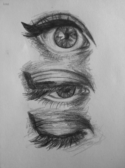 Like the bottom closed eye, could sketch out and put pages behind it.