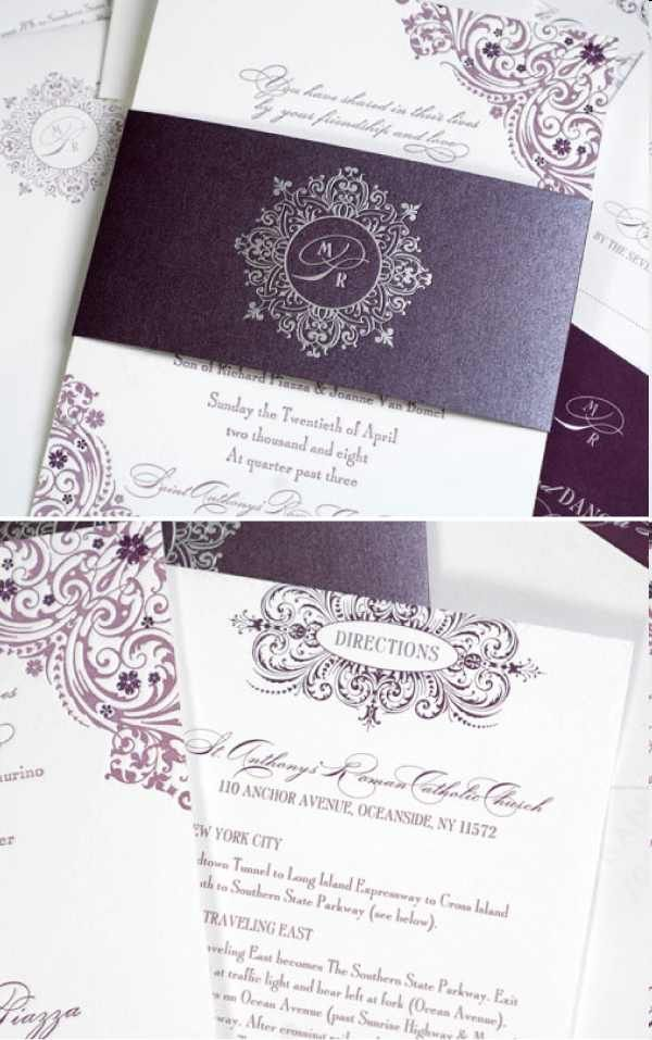 Purple Wedding Invitations   I Reeeaaallllly Like The Silver Stamp On The  Shimmery Wrap. Also, The Various Shades Of Purple In The Scroll Work!