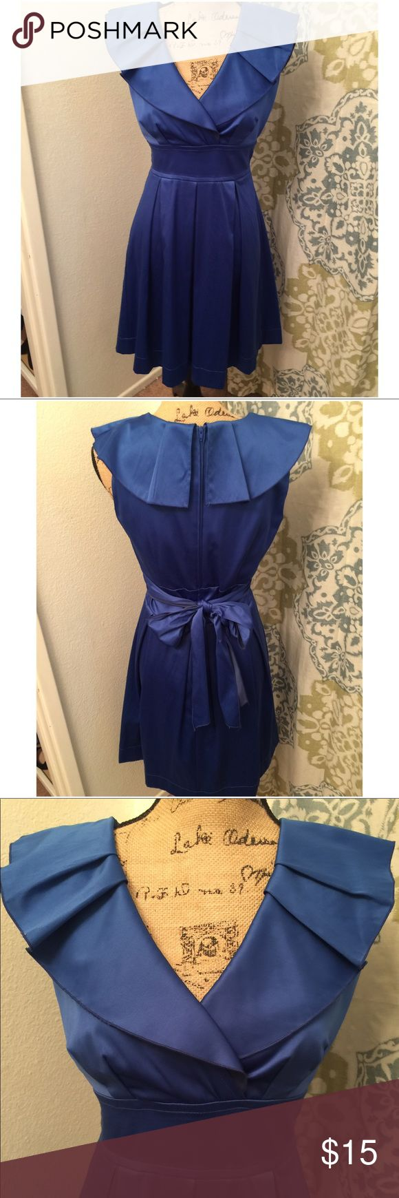 Windsor royal blue dress Such a pretty dress!! Sateen like sheen. Worn 1 time!! No flaws other than deodorant marks on the underarm. It does need to be dry cleaned (I didn't want to invest in dry cleaning since I'm selling it at such a low price) it was only worn for 1 hour to a civil wedding ceremony! WINDSOR Dresses Midi