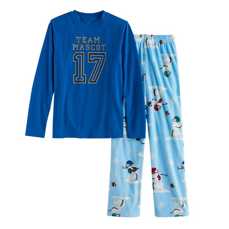 "Boys 4-20 Jammies For Your Families ""Team Mascot"" Top & Football Snowmen Fleece Bottoms Pajama Set, Size: 8, Light Blue"