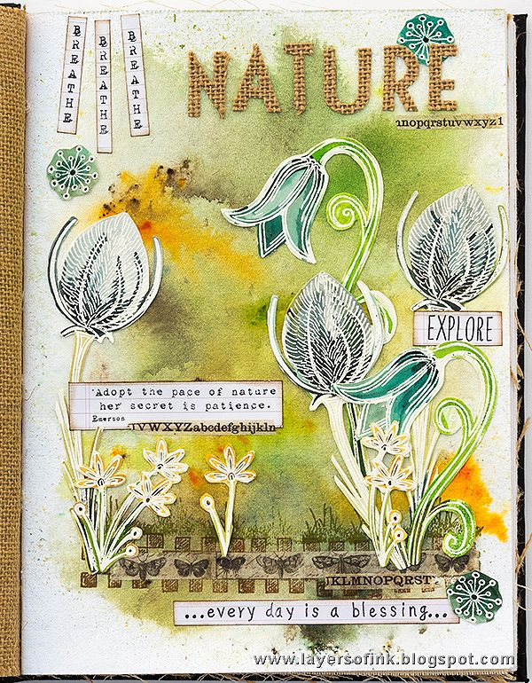 Layers of ink - Nature Art Journal Page by Anna-Karin. Made for the Simon Says Stamp Monday Challenge blog, with stamps and Infusions by Paper Artsy. Page was done in Ranger Dina Wakley Media Journal.