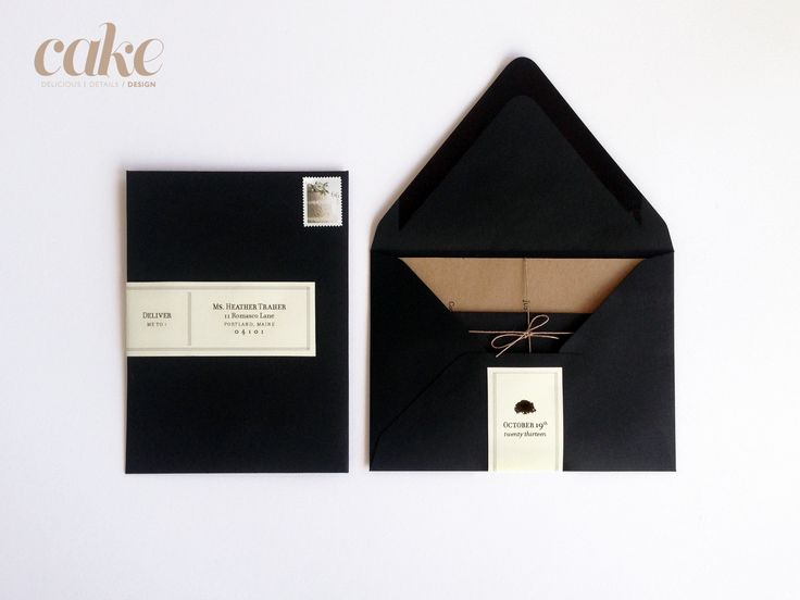 "A7 (5"" x 7"") invitations - Letterpressed on Kraft paper and paired with matte black envelopes + cream address labels."