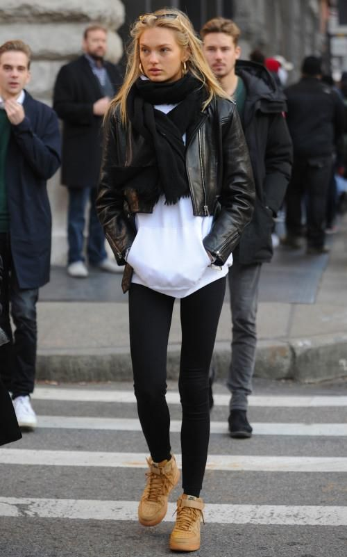 best loved 7bd08 cbf64 Romee Strijd wearing Le Specs Enchantress Sunglasses and Nike Air Force 1  High Sneakers in Flax
