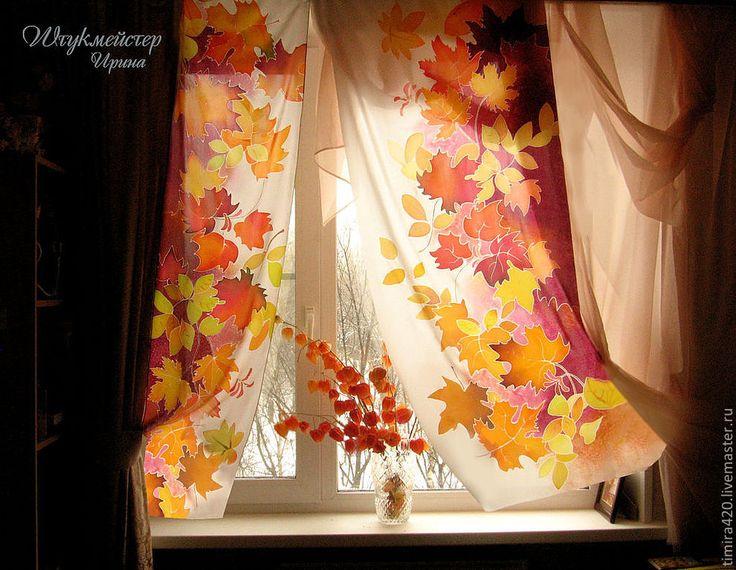 """Купить Шторы батик """"Осенняя листва"""". - Батик, шторы батик, кленовые листья, осень, спальня"""