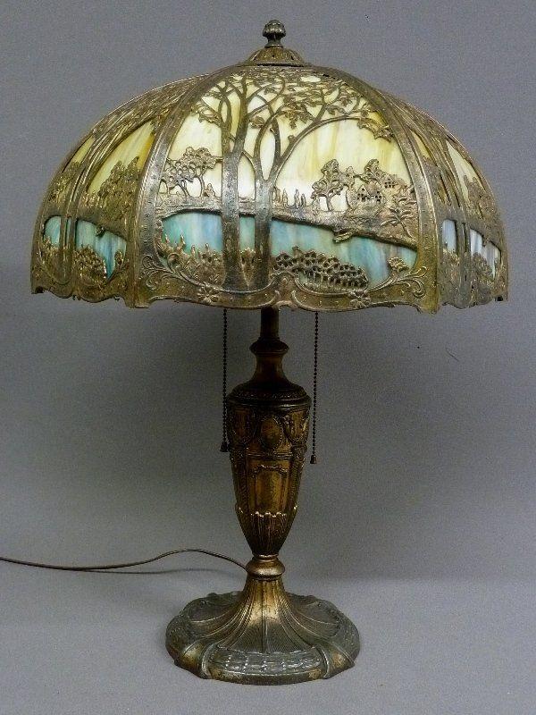 353 massive 1920s scenic slag glass panel lamp signed on
