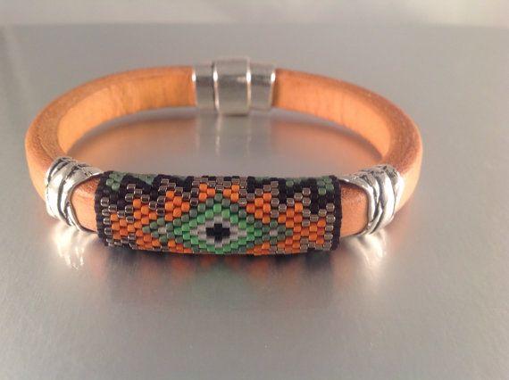 Southwestern Inspired Beaded Leather Bangle by Calisi on Etsy, $45.00 #beadwork #leather #Peyote