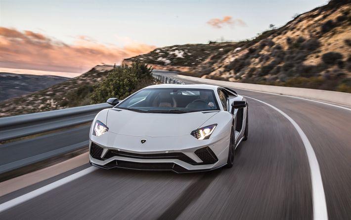 Download wallpapers Lamborghini Aventador S, 2017, Supercar, white Aventador, new cars, sports cars, Lamborghini