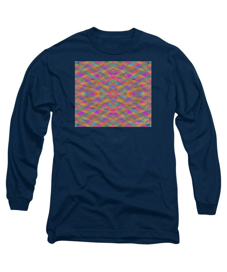 Colorful Geometrics Simulating Cut Glass Long Sleeve T-Shirt featuring the painting Prism by Expressionistart studio Priscilla Batzell