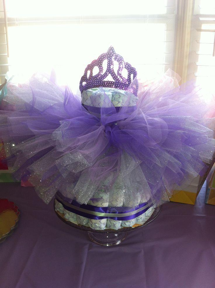 Princess diaper cake with purple, lavender and silver tutu ...