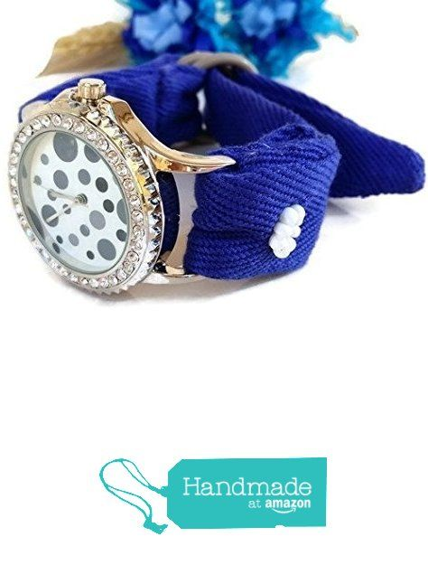 Orologio Bracciale Adattabile da Polso Donna in Tessuto di cotone Ricamato Blu Elettrico Quadrante a Pois da HarmonyHourWatches https://www.amazon.it/dp/B01LY5C8KF/ref=hnd_sw_r_pi_dp_I.wrybZZ8QKTK #handmadeatamazon