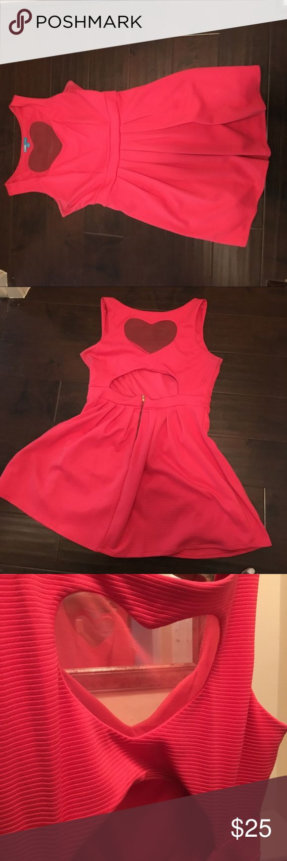 Pink sweetheart dress Super fun sheer heart back dress / pinkish coral color / hits right above the knees . Perfect for wedding , date night L'Amour Dresses Backless