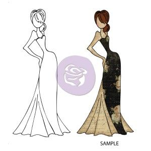 New! TASHA DOLL WITH EVENING DRESS Mixed Media Doll Cling Stamp Julie Nutting Collection from Prima Marketing
