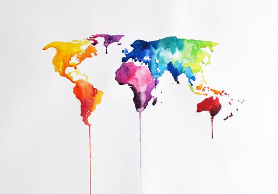 ORIGINAL Abstract world map watercolor painting by ArtCornerShop, $55.00