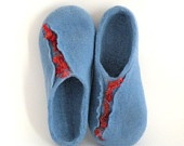 Felted wool slippers - wool clogs - blue and red -  made to order - sea marine nautical - autumn winter fashion - Christmas gift
