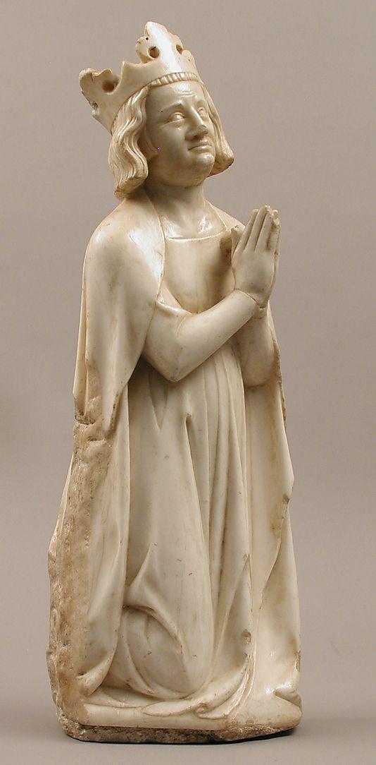 Roi. Probablement Philippe VI de Valois. Environ 1350.  France.  Marbre avec traces de peintures et de dorures. La série appartenait probablement à un autel ou une tombe.   Metropolitan Museum of Art