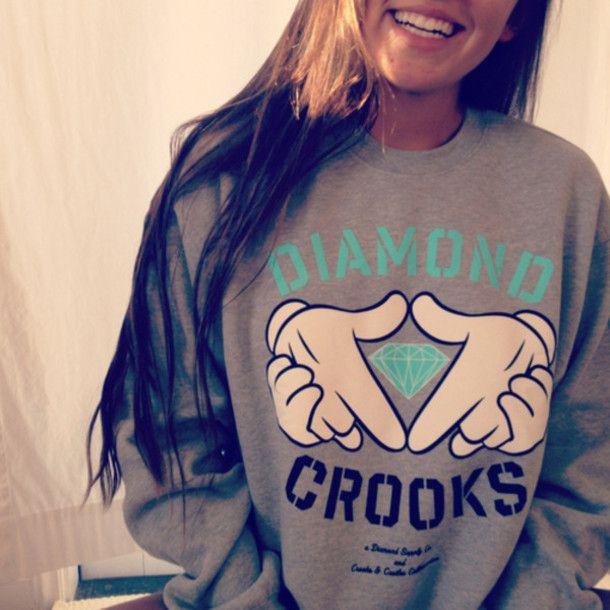sweater, diamond supply, sweatshirt