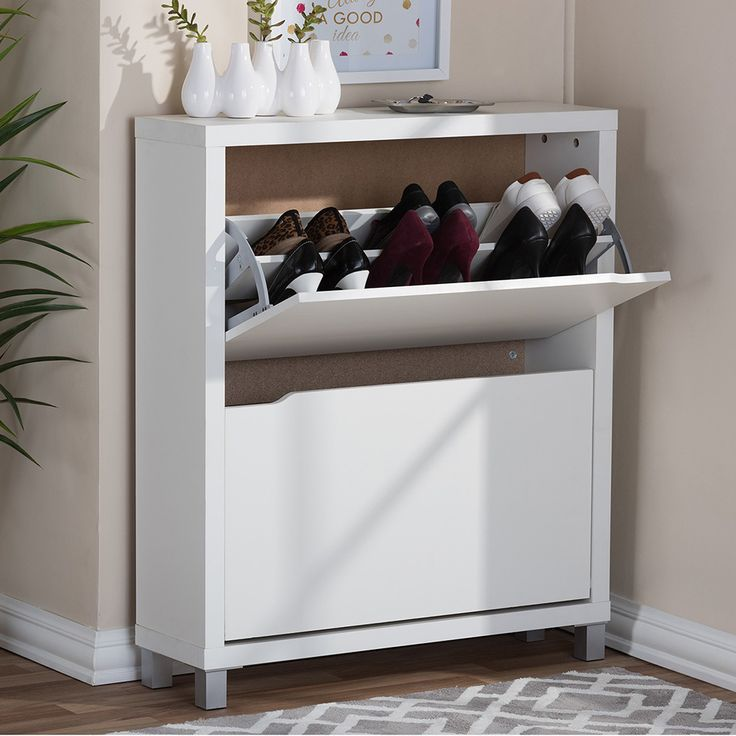 Keep all of your footwear organized and off the floor when you use this elegant shoe cabinet by Baxton Studio. The compact design makes it perfect for small apartments, and it features spacious drawers that will hold many pairs of shoes at one time.