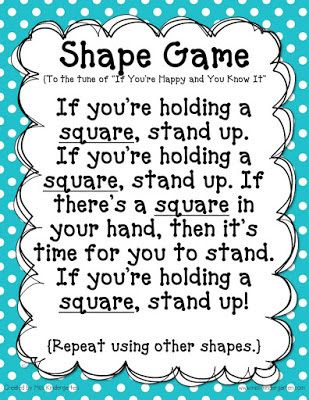 Fun BOY shape review activity from Miss Kindergarten. Pass out an attribute block to each child and then sing this song with each shape. You could do it again with color and size!