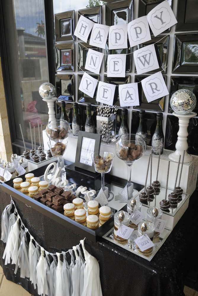Black,White & silver New Year's Party Ideas | Photo 1 of 11 | Catch My Party