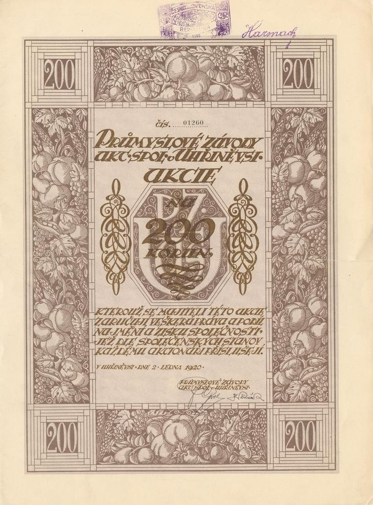 Průmyslové závody akc. spol. v Uhříněvsi (Industriewerke Uhrineves AG). Akcie na 200 Kč. Uhříněves (Praha), 1920.