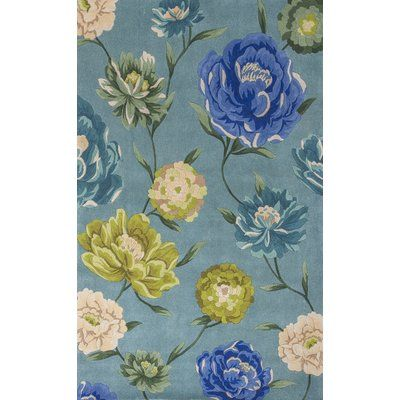 "Red Barrel Studio Las Cazuela Blue Floral Area Rug Rug Size: Runner 2'6"" x 8'"