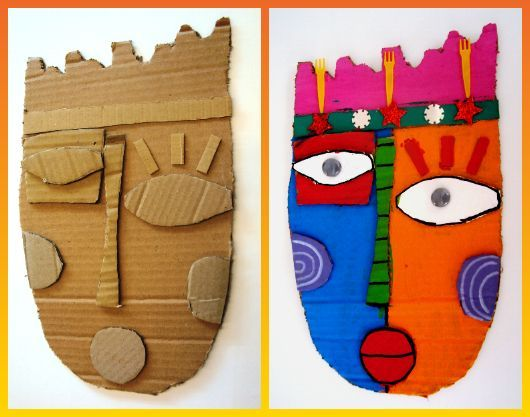 a la manera de Kimmy Cantrell  Nice example for a mask lesson or project using simple materials