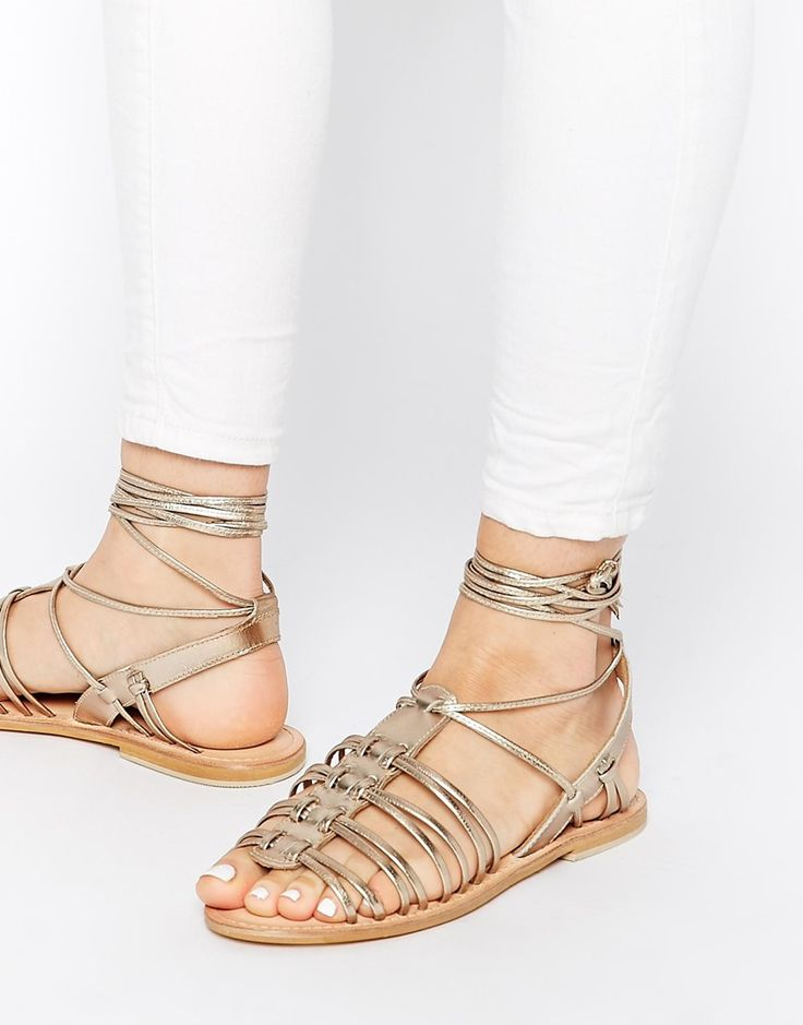 ASOS FUNNEL WEB Leather Gladiator Tie Leg Sandals