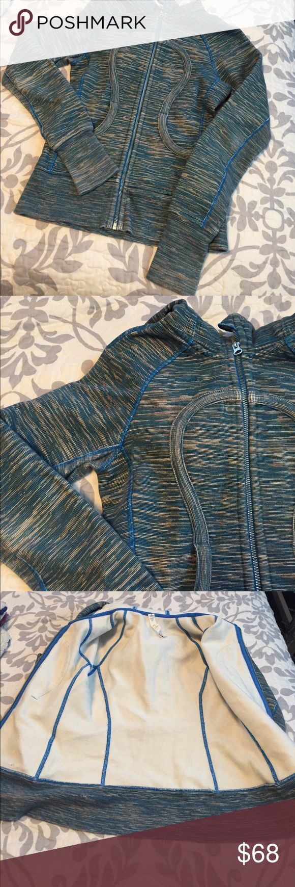 • blue lululemon jacket • Work and washed once, in like new condition. No flaws. Super soft on the inside. Size 2. Has thumb holes. Same or next day shipping. Reasonable offers accepted. For my reference only: item #60 lululemon athletica Jackets & Coats