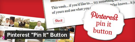 """Pin It"" Button:  http://wordpress.org/extend/plugins/pinterest-pin-it-button/    This plugin adds a ""Pin It"" button to posts and pages that will allow readers to easily pin your content at Pinterest. WordPress sites can indicate what types of pages the button should appear on and where (above or below content, for example). Several styling options are available and implementation is as simple as pasting a shortcode. The plugin has approximately 13,700 downloads at the time of this writing."
