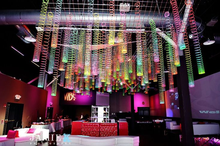 Amazing Event Decor...A Slinky Ceiling - Party Favorites - Event Planning Resource - BAR MITZVAHS WEDDINGS BAT MITZVAHS SHOWERS SWEET 16s