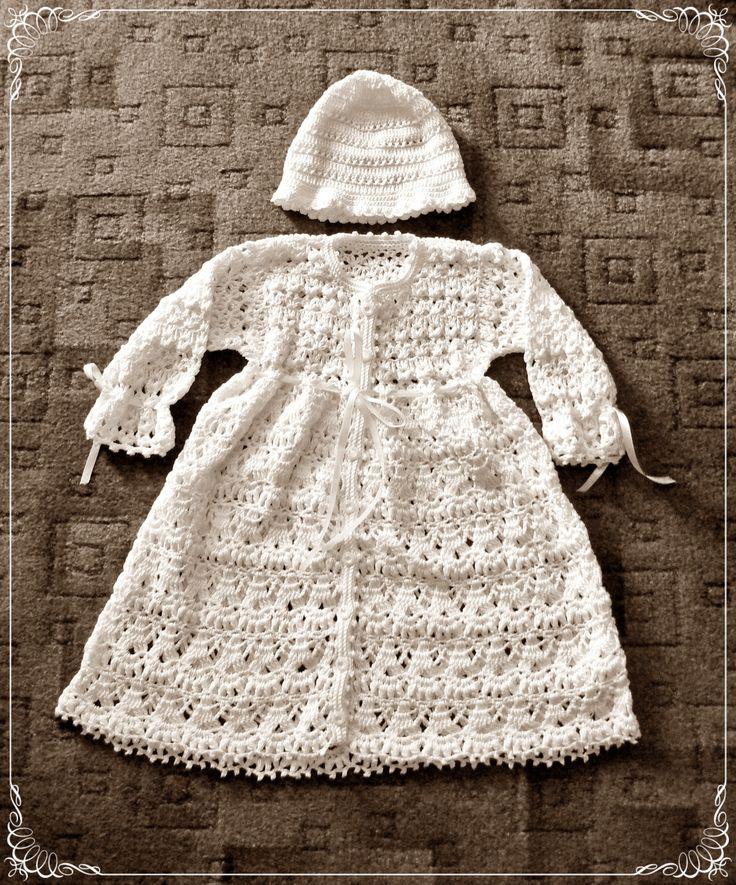 White crochet christening set for a girl.