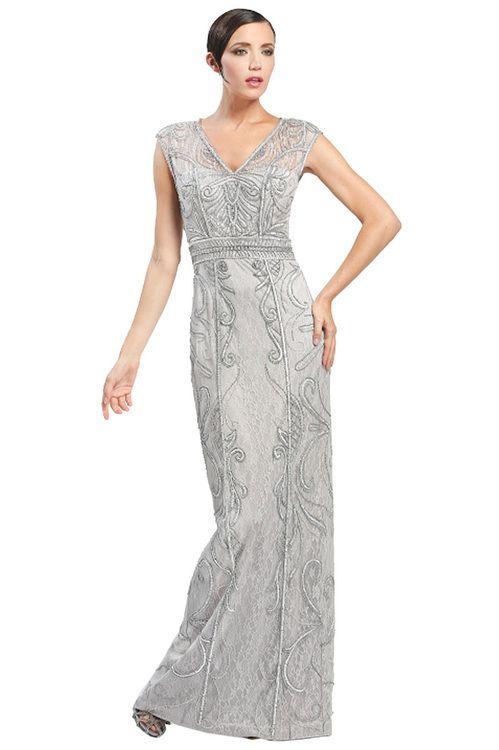 Sue Wong - Cap Sleeve V-neck Long Dress in Gray