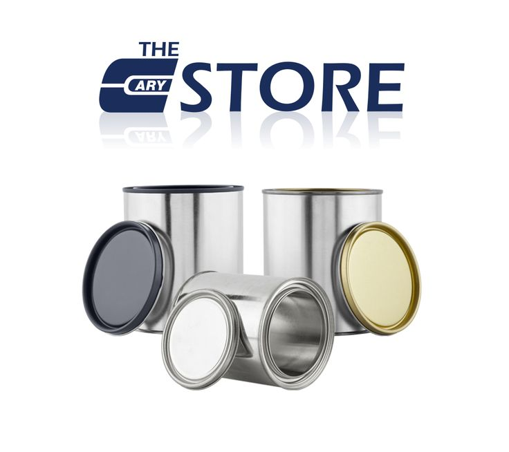 Paint cans: 1/4 pint, 1/2 pint, 1 pint, 1 quart, 1/2 gallon, 1 gallon, 1 liter. Various linings available. For product compatibility, please contact us at 630-629-6600 or visit our website at http://www.thecarycompany.com/containers/paintcans.html.
