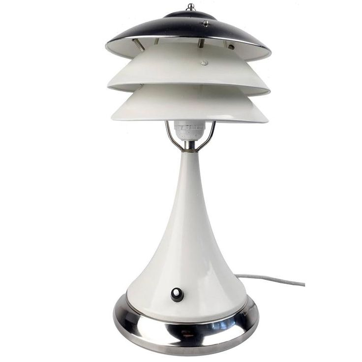 Art Deco Pagoda Style Table Lamp Chrome Modernist Design Machine Age 30s | From a unique collection of antique and modern table lamps at https://www.1stdibs.com/furniture/lighting/table-lamps/