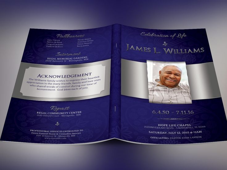 Dignity Funeral Program - PSD is for a modern memorial or home going service. It's gold decals and text style laid over a purple background will honor and dignify your loved ones. A great keepsake program. 4 color options are included for easy application. This template is a Photoshop template desig