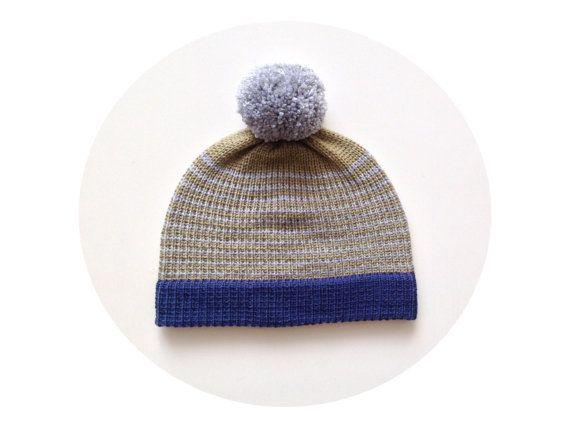 Mens bobble hat winter beanie guys knitted pom pom by missbelluk