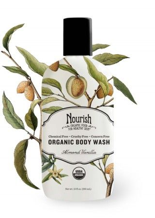 Almond Vanilla Organic Body Wash. Leaves skin smooth, soft, refreshed, and naturally scented with the sweet fragrance of organic vanilla and almond.