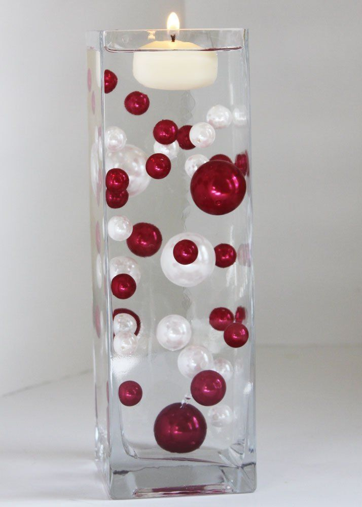 Amazon.com - Unique Red & White Pearl Beads Including Clear Water Pearls. Great for Wedding Centerpieces and Decorations - Decorative Vases