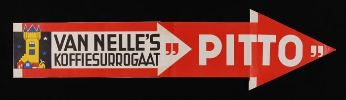 """lange poster Van Nelle's """"PITTO"""" in de vorm van een rode pijl"""